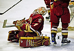 10 January 2009: Boston College Eagles' goaltender John Muse, a Sophomore from East Falmouth, MA, gives up a third period goal during the second game of a weekend series against the University of Vermont Catamounts at Gutterson Fieldhouse in Burlington, Vermont. The Catamounts rallied from an early 2-0 deficit to defeat the visiting Eagles 4-2. Mandatory Photo Credit: Ed Wolfstein Photo