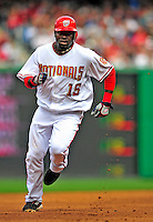 13 April 2009: Washington Nationals' shortstop Cristian Guzman in action against the Philadelphia Phillies during the Nats' Home Opener at Nationals Park in Washington, DC. The Nats fell short in their 9th inning rally, losing 9-8, and marking their 7th consecutive loss of the 2009 season. Mandatory Credit: Ed Wolfstein Photo