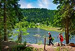 Deutschland, Bayern, Niederbayern, Naturpark Bayerischer Wald: Wanderweg Glaesener Steig am Kleinen Arbersee | Germany, Bavaria, Lower-Bavaria, Nature Park Bavarian Forest: hiking trail 'Glaesener Steig' at Little Arber Lake
