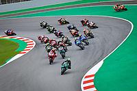 27th September 2020, Circuit de Barcelona Catalunya, Barcelona, MotoGp of Catalunya, Race Day;   The leading riders come through the bend