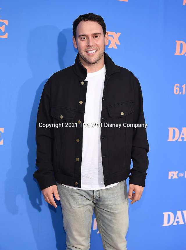 """LOS ANGELES, CA - JUNE 10: Executive Producer Scooter Braun attends the Season Two Red Carpet event for FXX's """"DAVE"""" at the Greek Theater on June 10, 2021 in Los Angeles, California. (Photo by Frank Micelotta/FXX/PictureGroup)"""