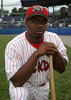 July 26, 2003:  Outfielder Michael Bourn of the Batavia Muckdogs, Class-A affiliate of the Philadelphia Phillies, during a NY-Penn League game at Dwyer Stadium in Batavia, NY.  Photo by:  Mike Janes/Four Seam Images