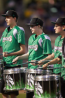 The Dayton Dragons drum line entertains the fans between innings of the game against the Bowling Green Hot Rods at Fifth Third Field on June 8, 2018 in Dayton, Ohio. The Hot Rods defeated the Dragons 11-4.  (Brian Westerholt/Four Seam Images)