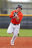 Illinois Fighting Illini infielder Michael Hurwitz #11 rounds the bases on a Jordan Parr (not pictured) home run during a game against the Notre Dame Fighting Irish at the Big Ten/Big East Challenge at Walter Fuller Complex on February 17, 2012 in St. Petersburg, Florida.  (Mike Janes/Four Seam Images)