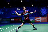 14th March 2020, Arena Birmingham, Birmingham, UK; Malaysias Lee Zii Jia hits a return during the mens singles semifinal match against Denmarks Viktor Axelsen at All England Open 2020 badminton tournament in Birmingham