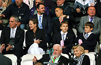 Chris Pearlman with his family during the Premier League match between Swansea City and Watford at The Liberty Stadium, Swansea, Wales, UK. Saturday 23 September 2017