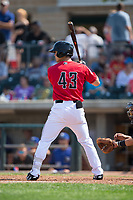 Stuart Fairchild (43) of the Billings Mustangs at bat against the Missoula Osprey at Dehler Park on August 20, 2017 in Billings, Montana.  The Osprey defeated the Mustangs 6-4.  (Brian Westerholt/Four Seam Images)