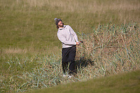 1st October 2021; Kingsbarns Golf Links, Fife, Scotland; European Tour, Alfred Dunhill Links Championship, Second round; Tommy Fleetwood of England plays from the rough on the sixth hole at Kingsbarns Golf Links