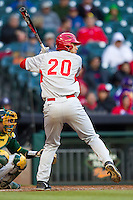 Houston Cougars first baseman Justin Montemayor #20 at bat against the Baylor Bears in the NCAA baseball game on March 2, 2013 at Minute Maid Park in Houston, Texas. Houston defeated Baylor 15-4. (Andrew Woolley/Four Seam Images).