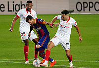4th October 2020; Camp Nou, Barcelona, Catalonia, Spain; La Liga Football, Barcelona versus Sevilla; Leo Messi cuts between Torres and Reges of Sevilla as he looks for a goal late in 2nd half