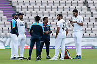 Umesh Yadav, Rohit Sharma and Ravichandran Ashwin, India (in Whites) during a training session ahead of the ICC World Test Championship Final at the Ageas Bowl on 17th June 2021