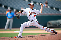 Bowie Baysox pitcher Tyler Erwin (47) during an Eastern League game against the Akron RubberDucks on May 30, 2019 at Prince George's Stadium in Bowie, Maryland.  Akron defeated Bowie 9-5.  (Mike Janes/Four Seam Images)