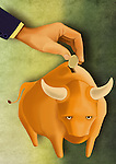 Human hand putting coin in bull piggy bank depicting the concept of investment in stock market