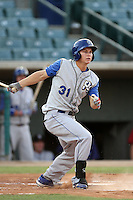 Joc Pederson #31 of the Rancho Cucamonga Quakes bats against the Lancaster JetHawks at Clear Channel Stadium on August 22, 2012 in Lancaster, California. Rancho Cucamonga defeated Lancaster 8-7. (Larry Goren/Four Seam Images)