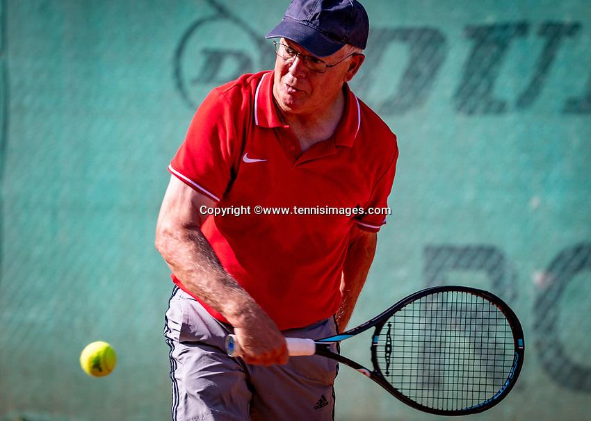 Hilversum, The Netherlands,  August 18, 2020,  Tulip Tennis Center, NKS, National Senior Championships, Men's single 70+ , Gerard Gerritsen (NED) <br /> Photo: www.tennisimages.com/Henk Koster