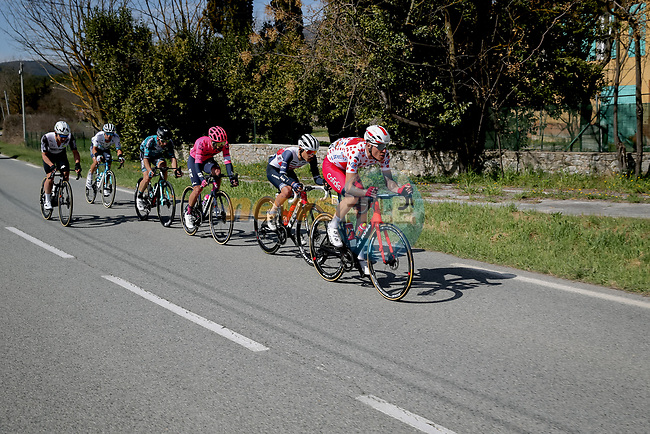Polka Dot Jersey Anthony Perez (FRA) Cofidis, Kenny Elissonde (FRA) Trek-Segafredo, Julien El Fares (FRA) EF Education-Nippo, Alexey Lutsenko (KAZ) Astana Premier Tech, Jonathan Hivert (FRA) B&B Hotels/KTM and Victor Campenaerts (BEL) Team Qhubeka Assos in the breakaway during Stage 6 of Paris-Nice 2021, running 202.5km from Brignoles to Biot, France. 12th March 2021.<br /> Picture: ASO/Fabien Boukla | Cyclefile<br /> <br /> All photos usage must carry mandatory copyright credit (© Cyclefile | ASO/Fabien Boukla)