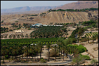 The Oasis of Ein Guedi is seen at the shores of the Dead Sea, southern Israel. The inland sea which separates between Israel and Jordan is retreating by about a meter a year as the two countries divert almost 90% of the Jordan River waters that for thousands of years fed the mineral-rich sea. Potash and other mineral factories in both countries say they are only responsible for not more than one fifth of the water's disappearance. Photo by Quique Kierszenbaum