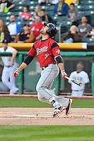 Mac Williamson (7) of the Sacramento River Cats at bat against the Salt Lake Bees in Pacific Coast League action at Smith's Ballpark on April 7, 2016 in Salt Lake City, Utah. Salt Lake defeated Sacramento 5-2. (Stephen Smith/Four Seam Images)