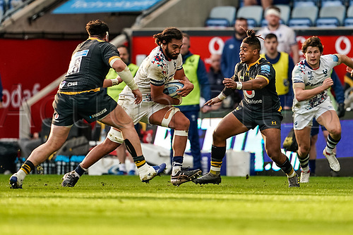 22nd November 2020; Ricoh Arena, Coventry, West Midlands, England; English Premiership Rugby, Wasps versus Bristol Bears; John Afoa of Bristol goes into a double tackle