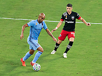 WASHINGTON, DC - SEPTEMBER 06: Heber #9 of New York City FC dribbles during a game between New York City FC and D.C. United at Audi Field on September 06, 2020 in Washington, DC.