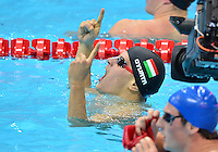 August 01, 2012..Danile Gyurta reacts after winning Men's 200m Butterfly Gold Medal at the Aquatics Center on day five of 2012 Olympic Games in London, United Kingdom.