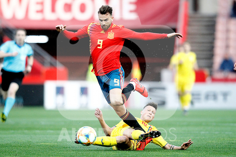 Spain's Borja Mayoral and Romania's Dragu? Denis  during the International Friendly match on 21th March, 2019 in Granada, Spain. (ALTERPHOTOS/Alconada)