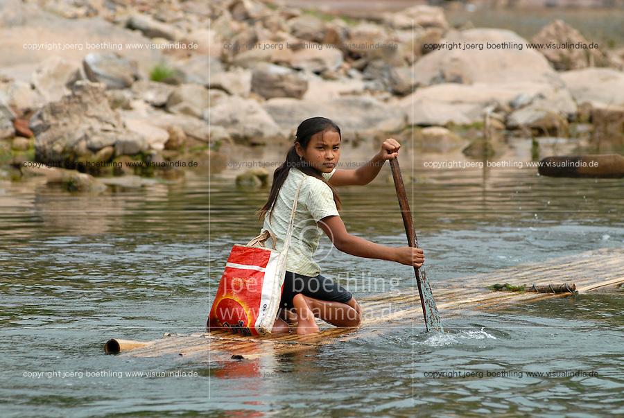 LAOS, river Nam Ou, a branch of Mekong, people travel with bamboo float / LAOS, Fluss Nam Ou , ein Nebenfluss des Mekong, Menschen fahren mit einem Bambusfloss
