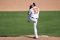 Baltimore Orioles pitcher Spenser Watkins (97) during a Major League Spring Training game against the Pittsburgh Pirates on February 28, 2021 at Ed Smith Stadium in Sarasota, Florida.  (Mike Janes/Four Seam Images)