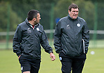 St Johnstone Training…04.07.17<br />Manager Tommy Wright pictured talking with assistant Callum Davidson during training this morning before flying out to Lithunania for Thursday nights Europa League second leg qualifyer ahainst FK Trakai.<br />Picture by Graeme Hart.<br />Copyright Perthshire Picture Agency<br />Tel: 01738 623350  Mobile: 07990 594431