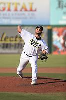 Julio Goff (28) of the Cucuys de San Bernardino pitches against the los Toros de Visalia at San Manuel Stadium on July 11, 2021 in San Bernardino, California. (Larry Goren/Four Seam Images)