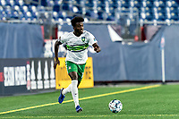 FOXBOROUGH, MA - AUGUST 26: Omar Mohamed #18 of Greenville Triumph SC brings the ball forward during a game between Greenville Triumph SC and New England Revolution II at Gillette Stadium on August 26, 2020 in Foxborough, Massachusetts.
