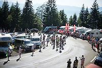 first grupetto up the final climb to Chamrousse (1730m/18.2km/7.3%)<br /> <br /> 2014 Tour de France<br /> stage 13: Saint-Etiènne - Chamrousse (197km)