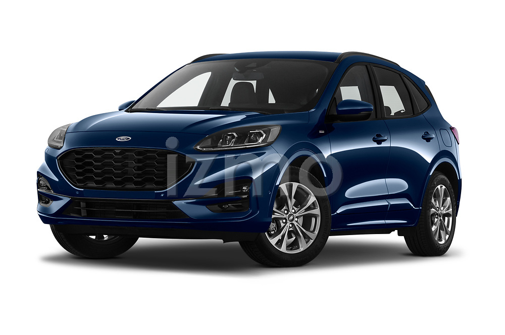 Stock pictures of low aggressive front three quarter view of 2020 Ford Kuga ST-Line 5 Door SUV Low Aggressive
