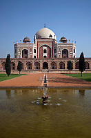 HUMAYUN'S TOMB, was built of white marble and red sandstone in 1565 and is a fine example of MUGHAL architecture - NEW DELHI, INDIA