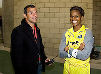 LA Sol's GM Charlie Naimo and goalkeeper Karina LeBlanc. The LA Sol defeated the Washington Freedom 2-0 in the opening game of Womens Professional Soccer at Home Depot Center stadium on Sunday March 29, 2009.  .Photo by Michael Janosz