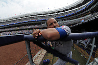 Texas Rangers catcher Yorvit Torrealba #7 during a game against the New York Yankees at Yankee Stadium on June 16, 2011 in Bronx, NY.  Yankees defeated Rangers 3-2.  Tomasso DeRosa/Four Seam Images