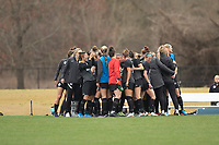 LOUISVILLE, KY - MARCH 13: Racing Louisville FC players huddle together before a game between West Virginia University and Racing Louisville FC at Thurman Hutchins Park on March 13, 2021 in Louisville, Kentucky.