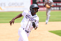Kane County Cougars shortstop Jasrado Chisholm (3) rounds third base during a Midwest League game against the Quad Cities River Bandits on July 1, 2018 at Northwestern Medicine Field in Geneva, Illinois. Quad Cities defeated Kane County 3-2. (Brad Krause/Four Seam Images)