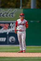 Williamsport Crosscutters shortstop Bryson Stott (15) during a NY-Penn League game against the Batavia Muckdogs on August 27, 2019 at Dwyer Stadium in Batavia, New York.  Williamsport defeated Batavia 11-4.  (Mike Janes/Four Seam Images)