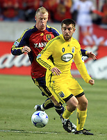 Nat Borchers (back) and Jason Garey (front) in the Columbus Crew vs Real Salt Lake 1-4 RSL win at Rio Tinto Stadium in Sandy, Utah on April 2, 2009.