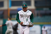 Fort Wayne TinCaps shortstop Xavier Edwards (9) jogs off the field between innings of a Midwest League game against the Quad Cities River Bandits at Parkview Field on May 3, 2019 in Fort Wayne, Indiana. Quad Cities defeated Fort Wayne 4-3. (Zachary Lucy/Four Seam Images)