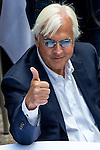 JUNE 3, 2015: Bob Baffert, trainer of American Pharoah, gives a thumbs up after American Pharoah drew the five post during the Belmont Stakes Post Position Draw at Rockefeller Center in New York, NY. Scott Serio/ESW/CSM