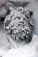 Greek Art:  Detail of Zeus in relief panel. East frieze of altar of Pergamon.