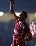 Sam Warburton celebrates victory over England and winning the 6 Nations Championship..2013 RBS 6 Nations Championship.Wales v England.Millennium Stadium.16.03.13.Credit: Steve Pope- Sportingwales