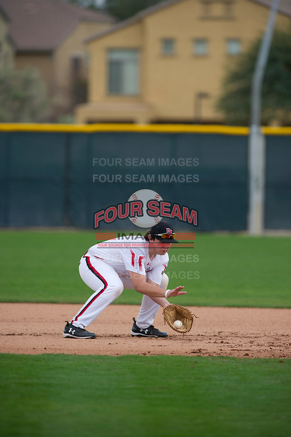 Jacob Thompson (17) of Trinity Prep High School in Charlotte, North Carolina during the Under Armour All-American Pre-Season Tournament presented by Baseball Factory on January 15, 2017 at Sloan Park in Mesa, Arizona.  (Zac Lucy/MJP/Four Seam Images)