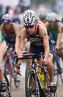 14 SEP 2013 - LONDON, GBR - Jodie Stimpson (GBR) of Great Britain cycles in the pack during the elite women's ITU 2013 World Triathlon Series Grand Final in Hyde Park, London, Great Britain (PHOTO COPYRIGHT © 2013 NIGEL FARROW, ALL RIGHTS RESERVED)