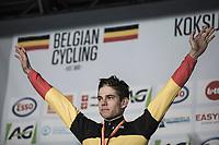 Podium: Wout Van Aert (BEL/Crelan Charles) winning his 3th National cx Champions title in a row. <br /> <br /> Men's Elite Race<br /> Belgian National Cyclocross Championships 2018 / Koksijde