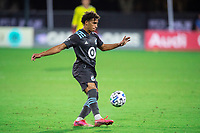 LAKE BUENA VISTA, FL - AUGUST 06: Hassani Dotson #31 of Minnesota United FC kicks the ball during a game between Orlando City SC and Minnesota United FC at ESPN Wide World of Sports on August 06, 2020 in Lake Buena Vista, Florida.