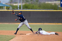 Milwaukee Brewers shortstop Yeison Coca (15) prepares to make a play on a stolen base attempt during an Instructional League game against the San Diego Padres on September 27, 2017 at Peoria Sports Complex in Peoria, Arizona. (Zachary Lucy/Four Seam Images)