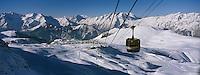 Europe/France/Rhône-Alpes/38/Isère/l'Alpe-d'Huez: la station , son domaine skiable et les sommets de l'Oisans vus depuis le télécabine des Grandes Rousses